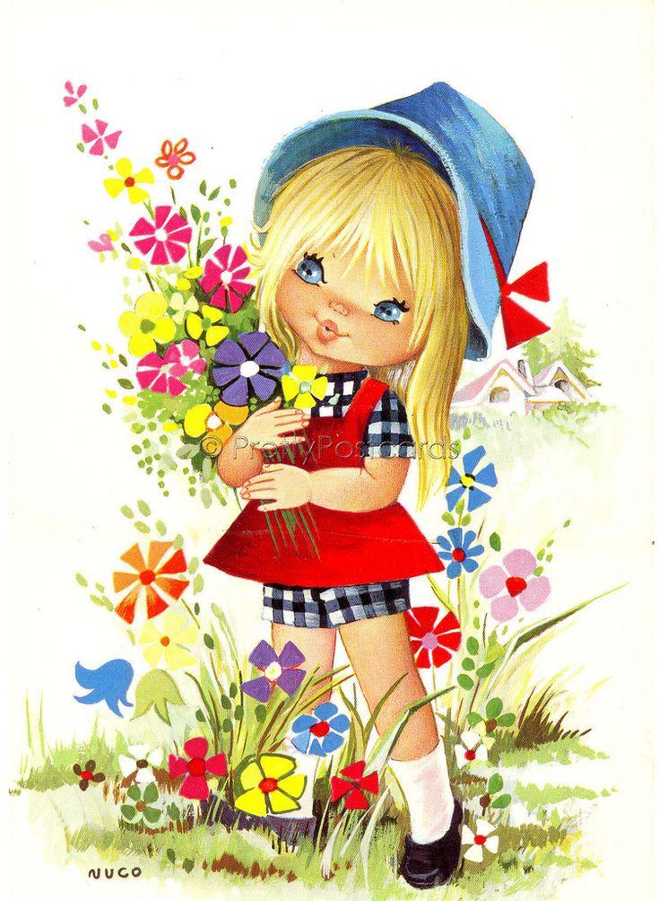 Надписью, девочка с цветами картинки рисованные