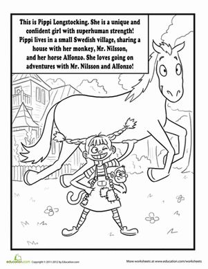 Pippi Longstocking Coloring Page