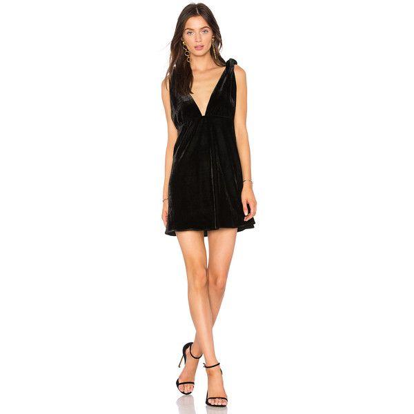 Line & Dot x REVOLVE Tied Mini Dress ($81) ❤ liked on Polyvore featuring dresses, strappy dress, strap dress, short dresses, short polka dot dress and polka dot print dress