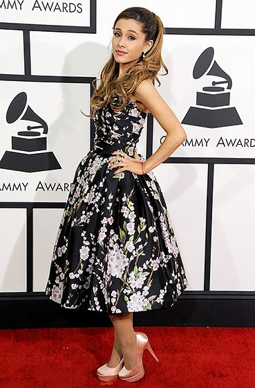 Ariana Grande wearing a floral Dolce & Gabbana dress at the 2014 Grammy Awards