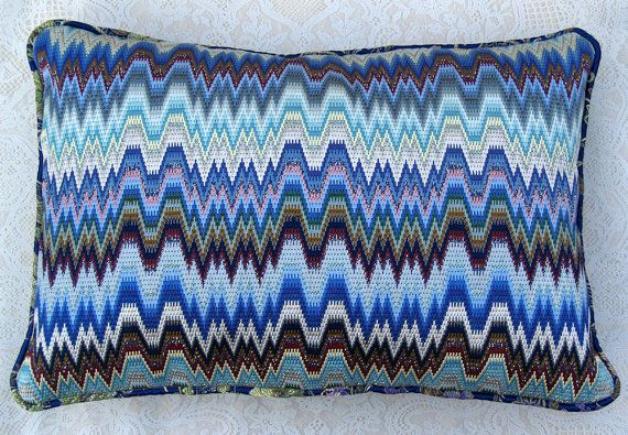 Blue Flame Bargello Needlepoint Pillow