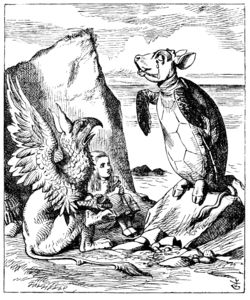 The Mock Turtle~ Traditionally, mock turtle soup takes the parts of a calf that were not frequently used and often discarded, including the head, hooves, and tail; and uses the non-muscular meat to imitate turtle meat. Tenniel's illustration shows the Mock Turtle with the body of a turtle, and the head, hooves, and tail of a calf.