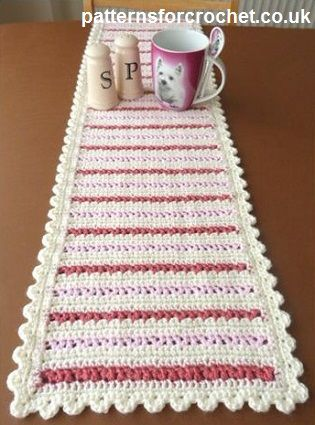 Crochet this cute table runner in Vanna's Choice for a hallway table.
