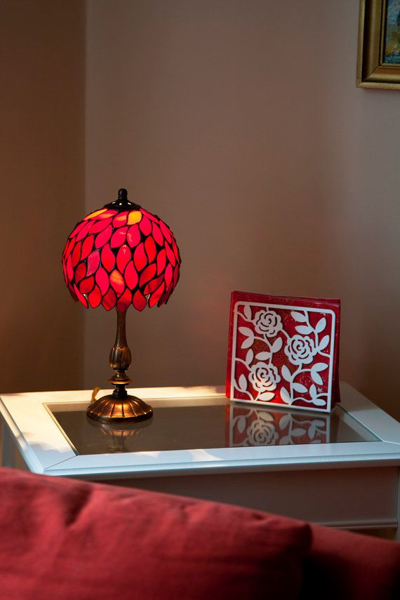 Tiffany stained glass small lamp with red leaves. by WPworkshop