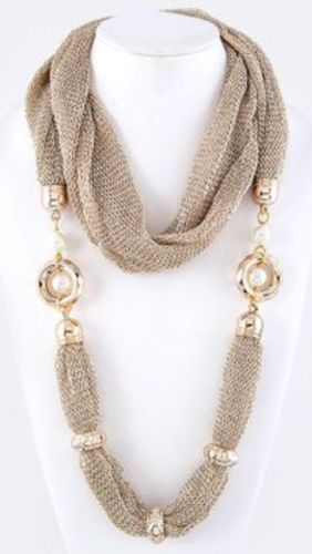 Mesh Infinity Scarf Wrap Necklace Faux Pearl Accent Gold White Boutique B139