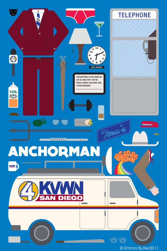 Anchorman  Movie Parts Poster by EmmaButlerDesign on Etsy