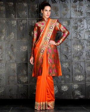 Orange Sari with Long Brocade Jacket