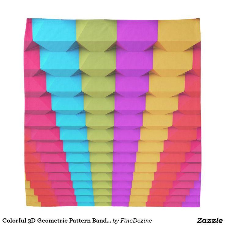 Colorful 3D Geometric Pattern Bandana