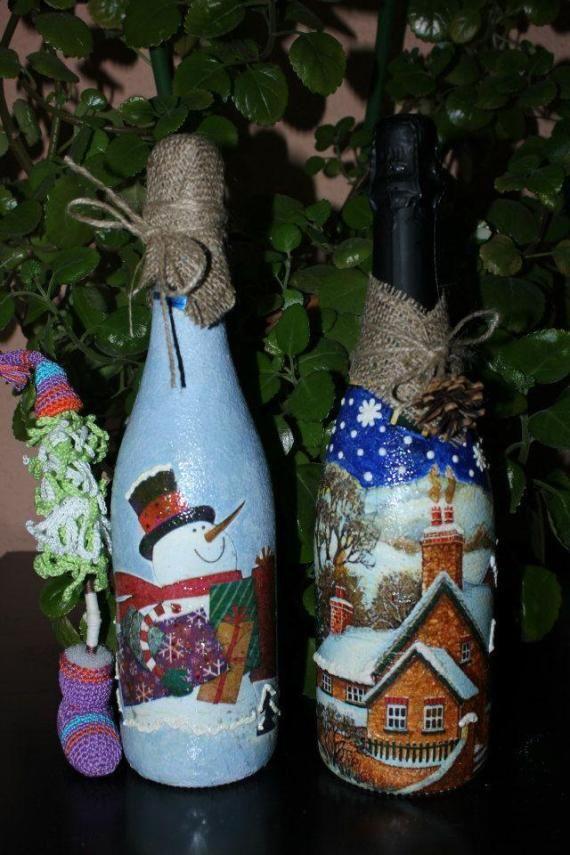 Las botellas decoradas para el Año Nuevo y la Navidad. Un regalo ideal e insólito para tu familia, tus amigos y colegas.