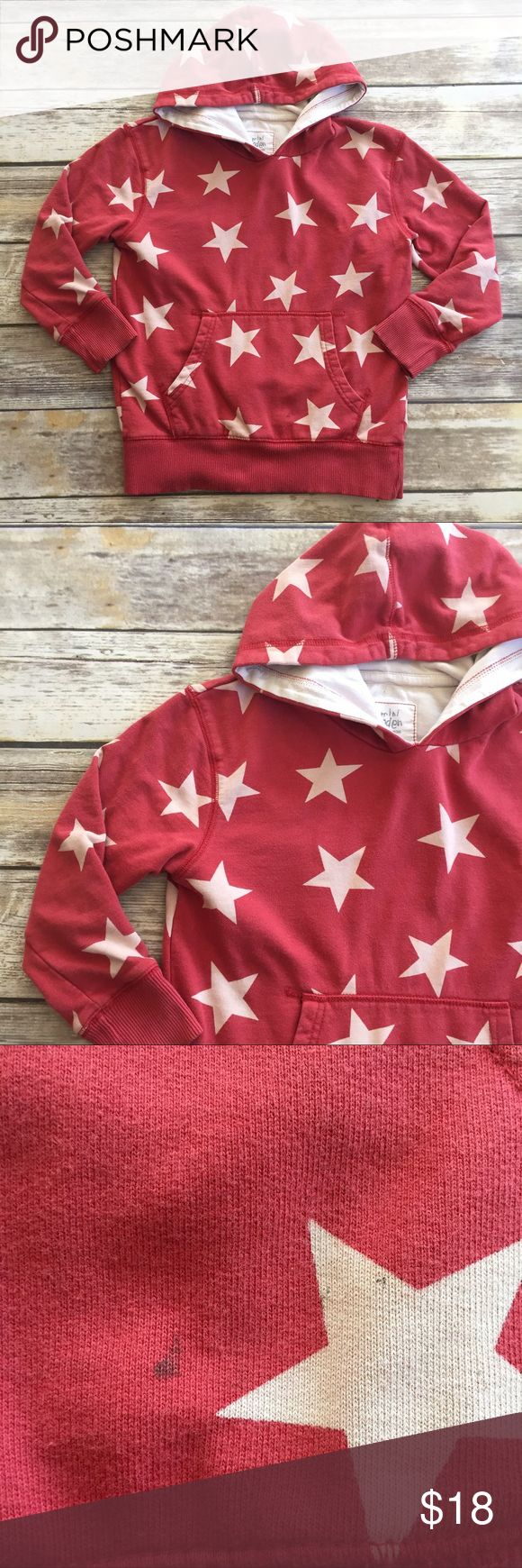 Mini Boden Hoodie Red zip up hoodie with white stars. GUC for some wash fade and a small black stain on front pocket, see photos. Size 7-8. Mini Boden Shirts & Tops Sweatshirts & Hoodies