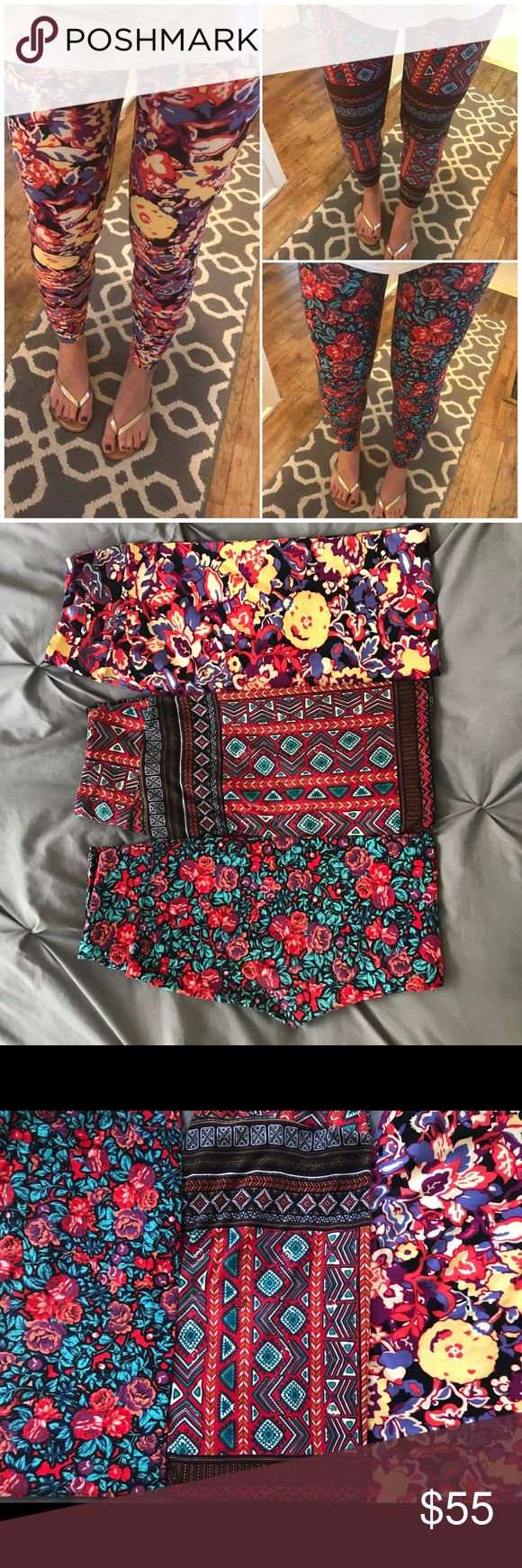 EUC Lularoe OS leggings!  LOT OF 3! 💃🏽 EXCELLENT CONDITION!  Set of three Lularoe leggings!  Two floral and one Aztec!    Practically new!  Each worn once only!  Each washed once only too!  Cold delicate cycle inside out and alone. Hung dry!  Hardly any wear. Rose pair shows some in thigh area. Other two I personally can't see much!  Limited to four pictures but let me know if I can take more!    Ask about bundling!  Major lula destash event this weekend!  More likely to come today…