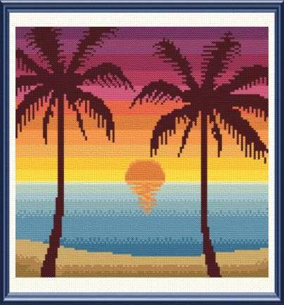 Tropical Sunset cross stitch pattern.