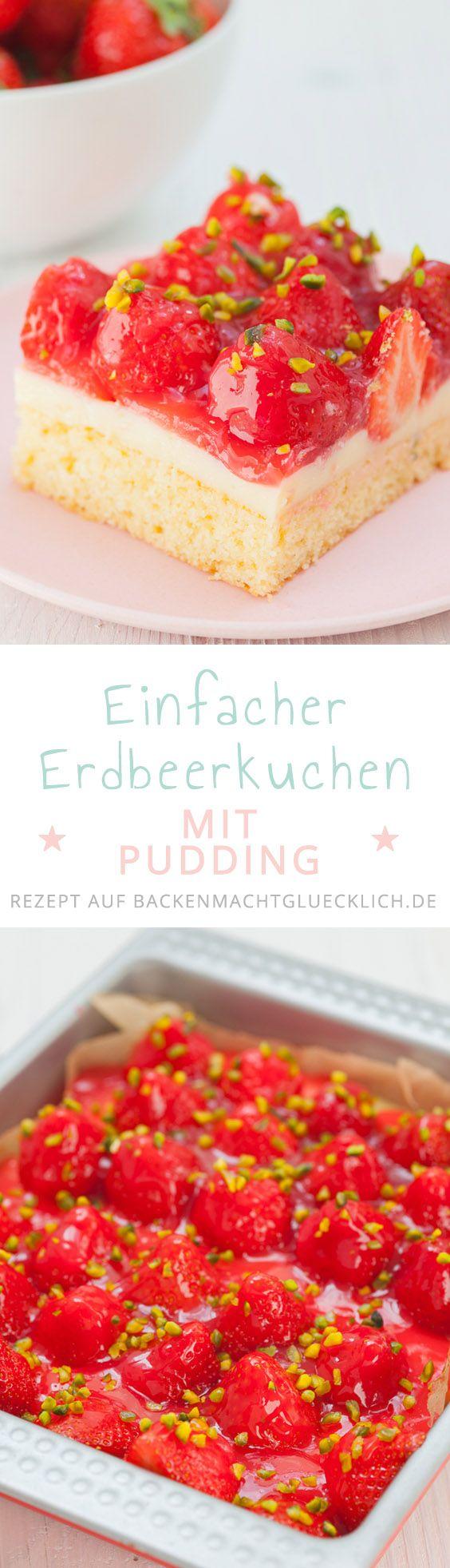 Der Erdbeer-Pudding-Kuchen ist so schlicht und einfach, dass es fast keine Anleitung braucht: Auf einen gewöhnlichen Rührteigboden folgt eine Schicht Puddingcreme – die tatsächlich nur aus Milch, minimal Zucker und Puddingpulver besteht – sowie ein Topping aus vielen Erdbeeren samt Tortenguss. Das war´s.