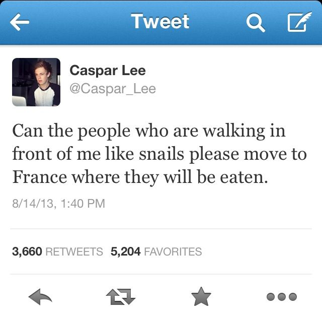 Thank you Caspar Lee for making me laugh even when I'm upset