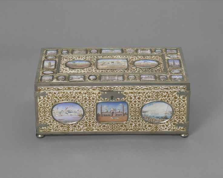 An ivory writing-casket inlaid with gold and thirty-nine ivory miniatures of Mughal monuments, ca. 1887.