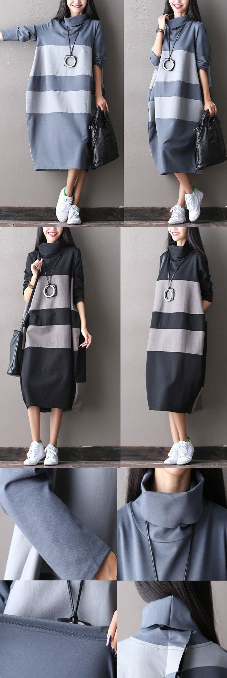 Big stripe long dress for autumn day.hand wash. buykud dresses. Women's Dresses - Dress for Women - http://amzn.to/2j7a1wP