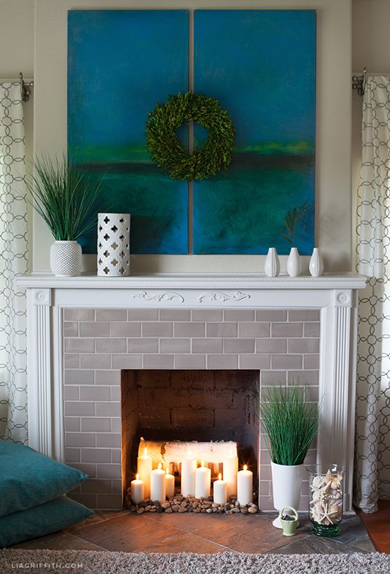 Styling a Fireplace for Summer   Tips to make it useful and beautiful for summer   Lia Griffith