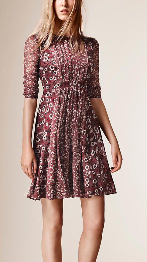 Dusty pink Floral Print Silk Crepe Dress - Image 1