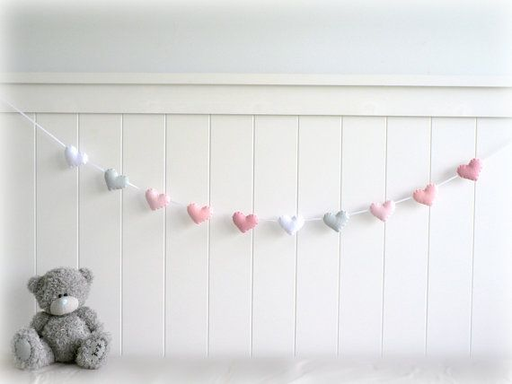 Felt hearts banner garland bunting pink gray by LullabyMobiles