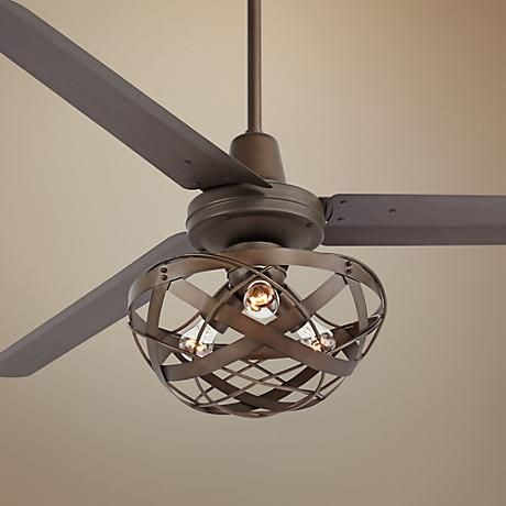 "17"" Casa Vestige Antique Bronze Cage LED Ceiling Fan - #5D998 