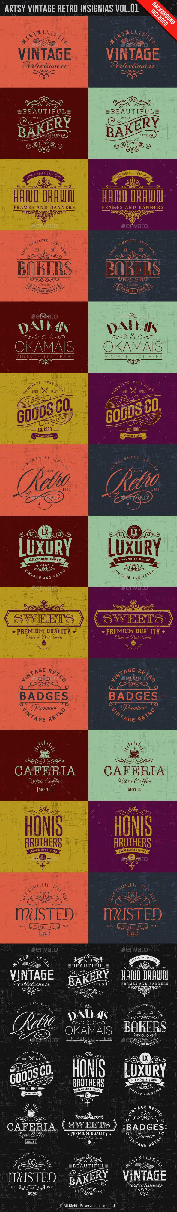 Artsy Vintage Retro Insignia and Logos   Buy and Download: http://graphicriver.net/item/artsy-vintage-retro-insignia-and-logos-vol01/9945396?ref=ksioks