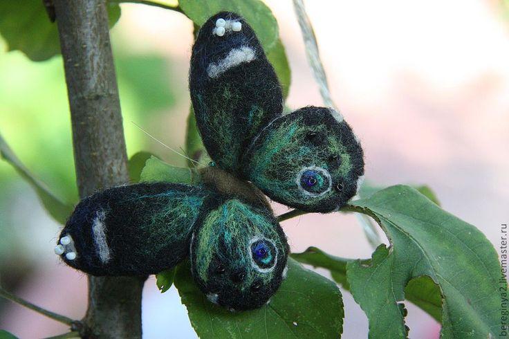"Купить Бабочка ""Батерфляй"" - тёмно-зелёный, бабочка, брошь бабочка, брошь из войлока, брошь из шерсти"