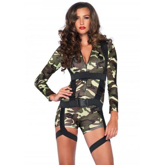 Commando leger kostuum voor dames. Dit sexy commando kostuum voor dames bestaat uit een jumpsuit met rits in legerprint en zwart harnas. De jumpsuit is gemaakt van 93% polyester en 7% spandex. Luxe kwaliteit. Kan gewassen worden op 30 graden. Carnavalskleding 2015 #carnaval