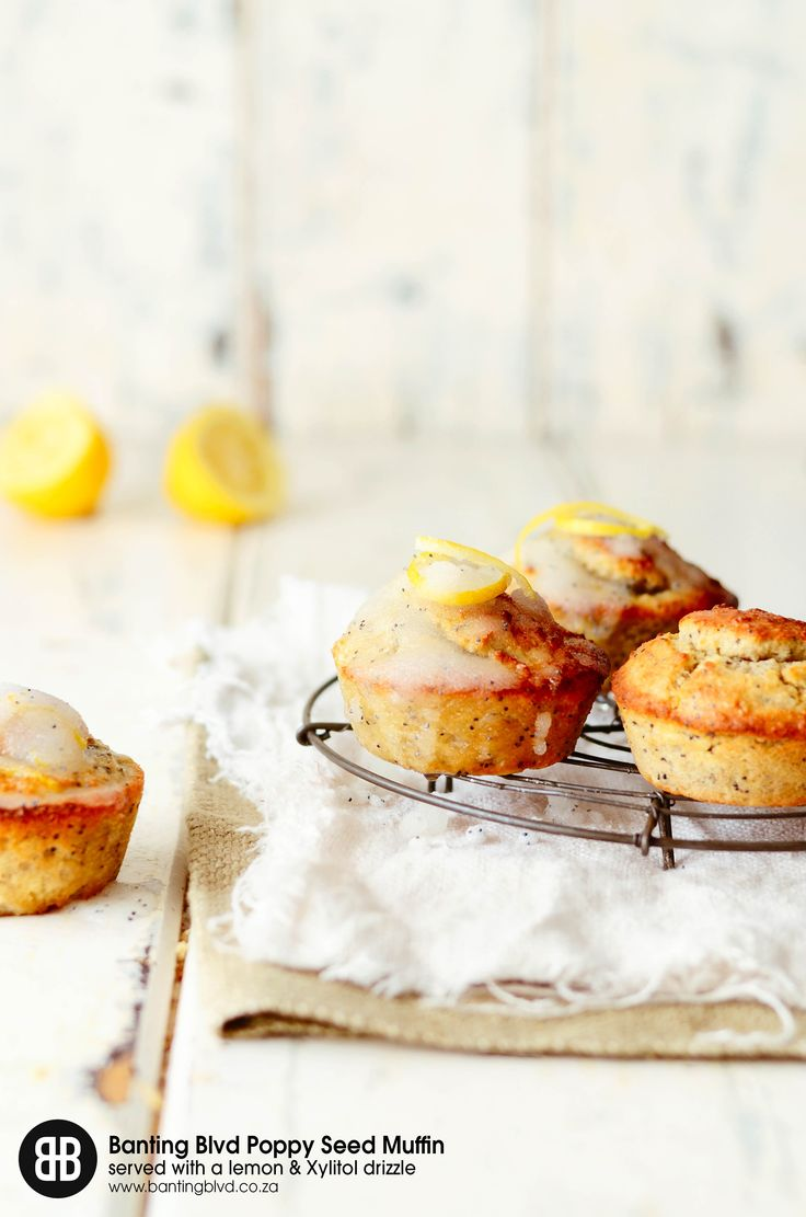 Banting Blvd's Poppy Seed Muffins served with a zesty lemon drizzle. Recipe available from www.bantingblvd.co.za or click on the image.