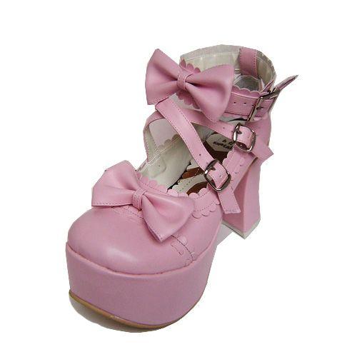 Graceful Thick Waterproof Platform Rad Round Head High Heels Lolita Shoes