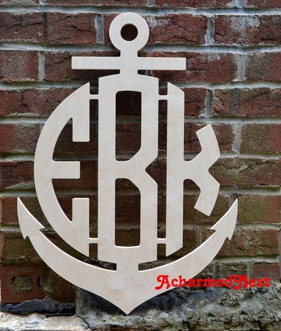 24 inch Anchor Wooden Monogram Letters- Wall Monogram- Circular Monogram