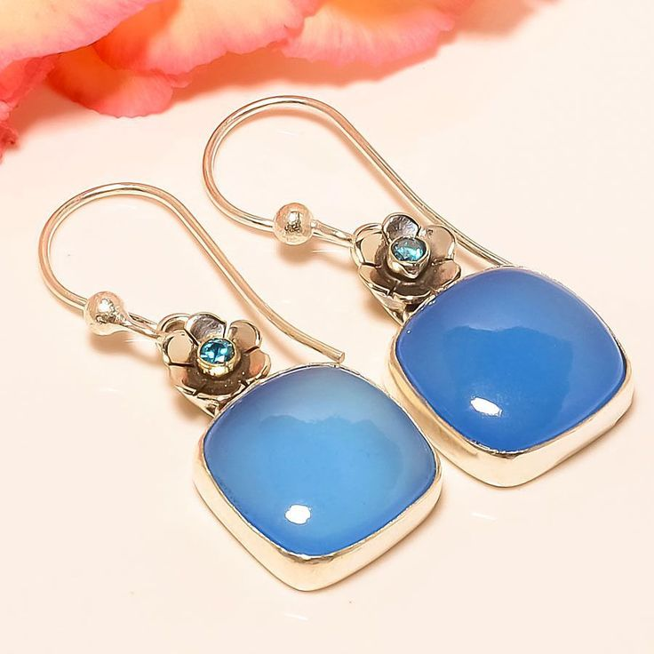 "Blue Chalcedony, Blue Topaz 925 Sterling Silver Jewelry Earring 1.58"" #Handmade #DropDangle"
