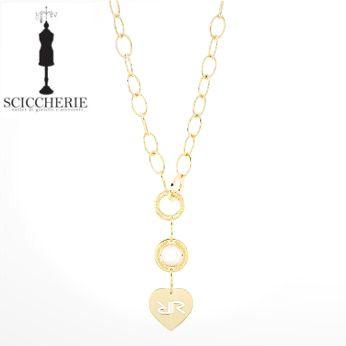 Rebecca Gioielli Collezione San Valentino.  Collana a maglie in bronzo bagnato in oro giallo.  #sanvalentino #rebecca