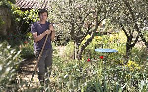 james basson stands in the garden he designed for loccitaine a perfumers garden in grasse at the chelsea flower show. Check out all the finalists here.
