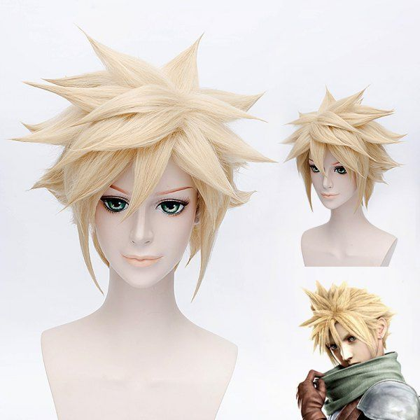 Fashion Soft Gold Shaggy Tilt Short Straight Anime Final Fantasy VII Cloud Cosplay Wig #CLICK! #clothing, #shoes, #jewelry, #women, #men