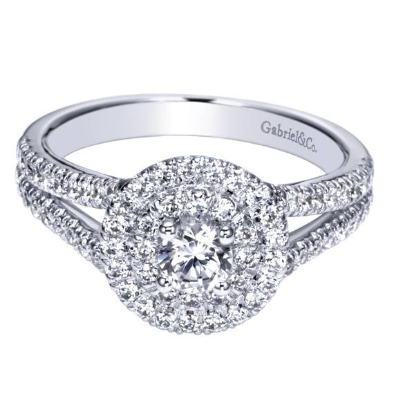 Huge round brilliant diamond engagement ring, white gold double bands, by Gabriel & Co.