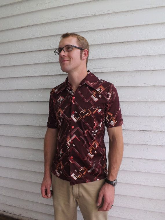Vintage 70s Mens Print Shirt Casual Triumph California By Soulrust
