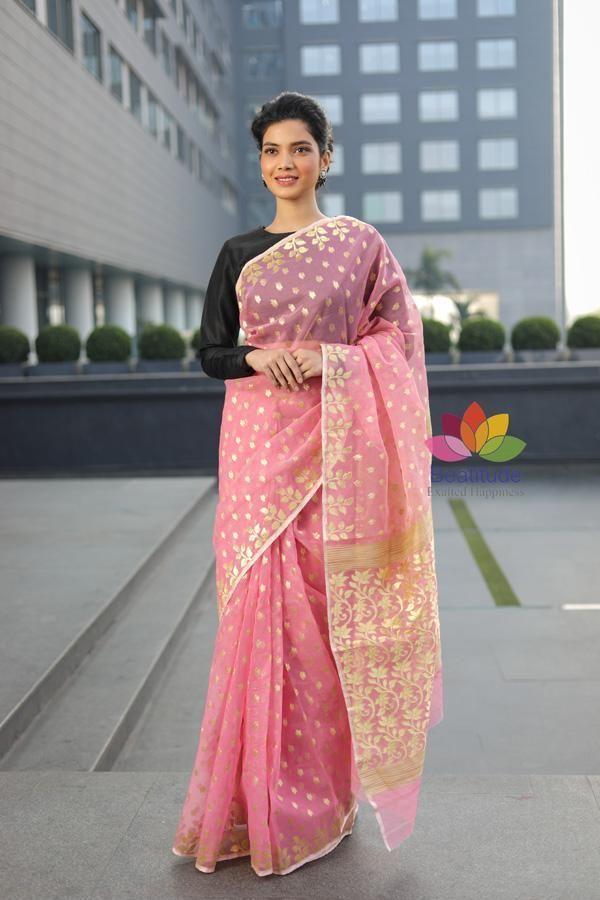d7a0b79b0a Pink Shade Handwoven Muslin Tangail Saree   Saree in 2019   Saree ...