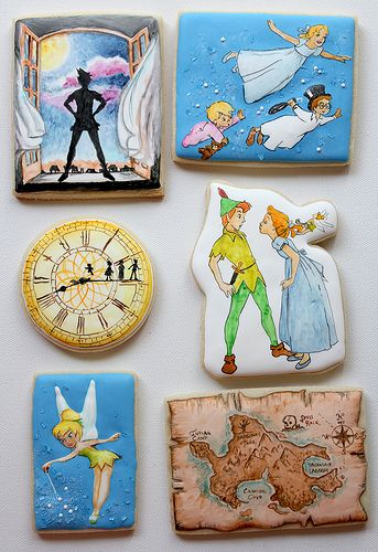 Disney Peter Pan Cookie Set...  Most are out of my league, but I could maybe do a clock cookie.
