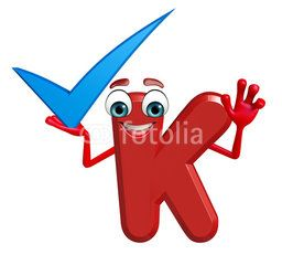 Cartoon Character of alphabet K with right sign
