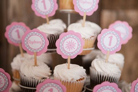 CUPCAKE TOPPERS - Snowflake Birthday Party Decorations - Pink Snowflake Birthday - Winter Onederland - Pink Onederland Cupcake Toppers (12)