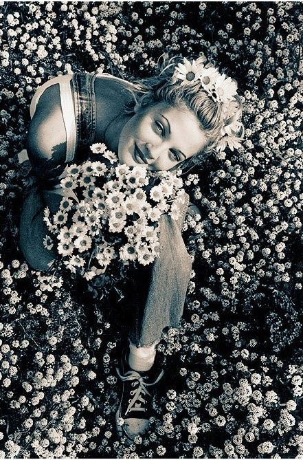 Flower child. http://www.thecoveteur.com/happy-birthday-drew-barrymore/