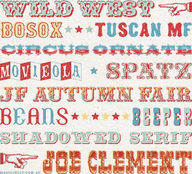 more circus fonts & carnival fonts ~ My Favourite Circus Fonts: Round #2   Magic Jelly Blog
