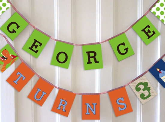 Dinosaur personalised party bunting for kids parties