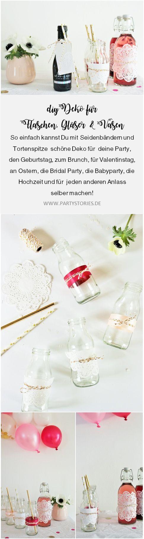 DIY Deko Ideen für die Party und die Hochzeit mit Tortenspitze und Seidenband // So einfach kannst Du Tischedeko, Vasen, Flaschen und Gläser mit Tortenspitze und Seidenbändern für jeden Anlass schön machen: gefunden auf www.partystories.de