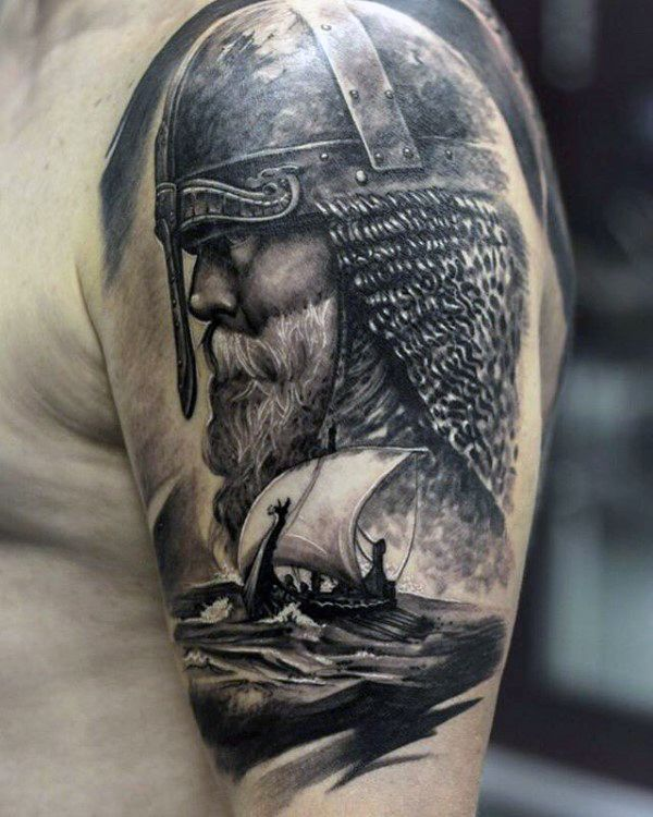 Odin With Norse Sailing Ship Mens Half Sleeve Tattoo Designs