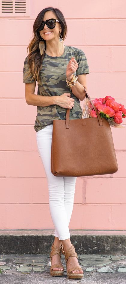 @roressclothes closet ideas #women fashion outfit #clothing style apparel Camo Tank, white jeans