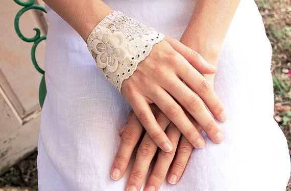 Victorian Romantic Bridal Cuff  various vintage laces by LaMaurer