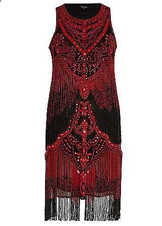 Red and black beaded flapper dress. I love the detail. |1920s dress||Costume ideas||Great Gatsby costume|