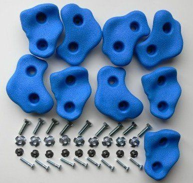 This kit contains 9 plastic climbing holds in one of four colors: blue, red, yellow and green, plus 18 T-nuts and 18 Bolts (suitable for 3/4 plywood). All holds are of different shapes and sizes. Rock
