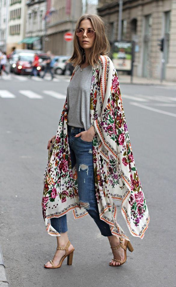 La forma + sencilla de reinventar tus jeans y t-shirts - Marie Claire | Blusones largos de moda, Traje de kimono, Ropa de moda